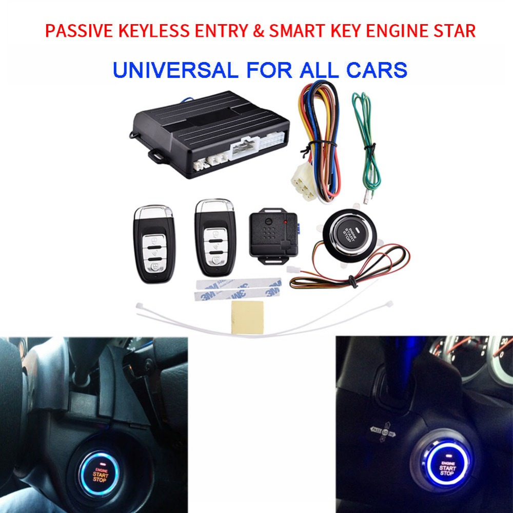 цена на 12V Universal PKE car alarm system with Engine start stop push button and engine start passive Smart Key Engine Start