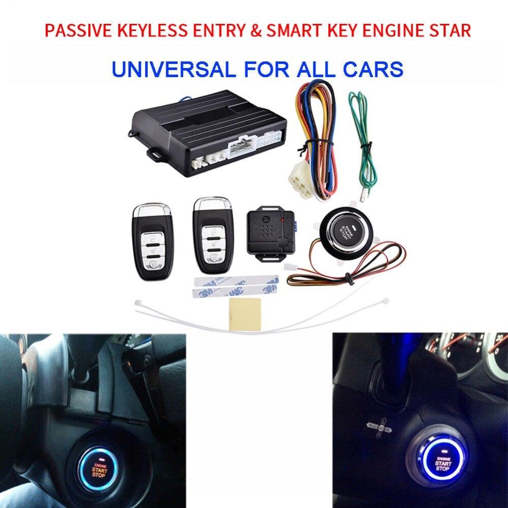 Système d'alarme de voiture PKE universel 12 V avec bouton poussoir d'arrêt de démarrage du moteur et démarrage du moteur