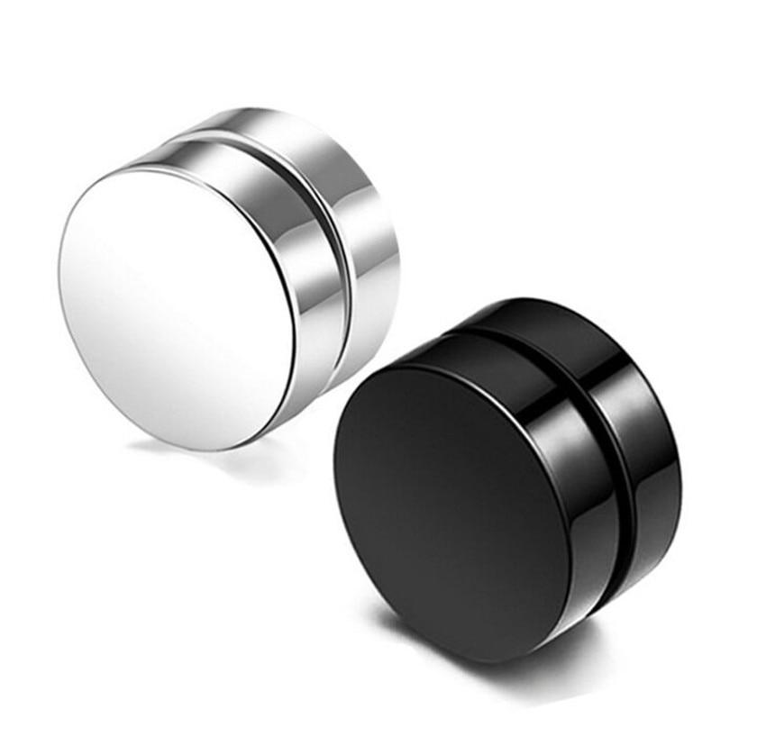 Stainless steel round magnet stud earrings for men women