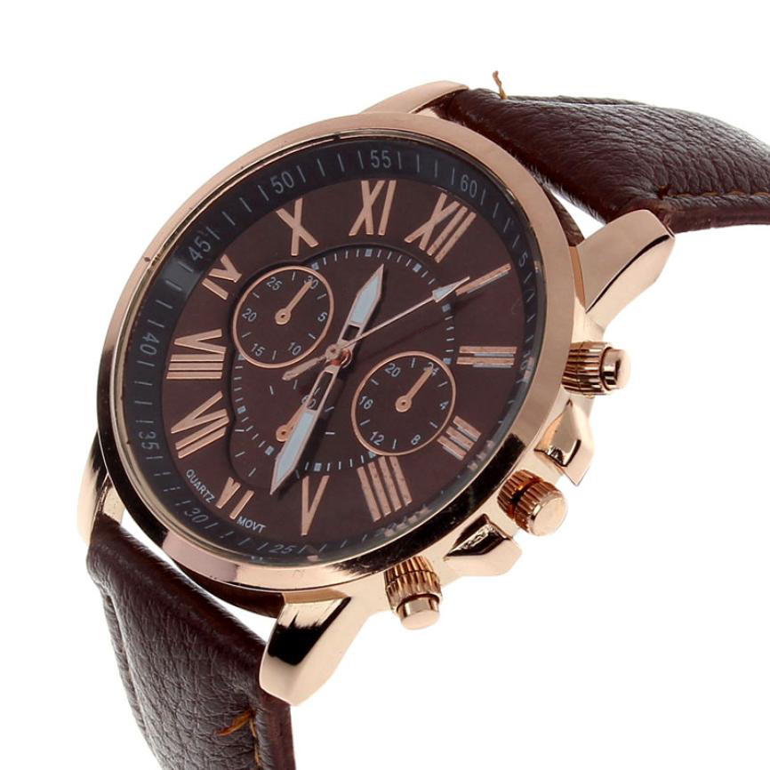 Casual Women Watch Leather Band Roman Numerals Time Clock
