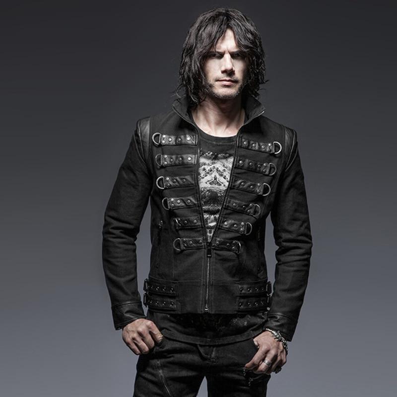 Steampunk Stand Collar Zipper Handsome Soldier Men's Jacket Slim Rivet Long Sleeve Back Strap Design Casual Male Coats