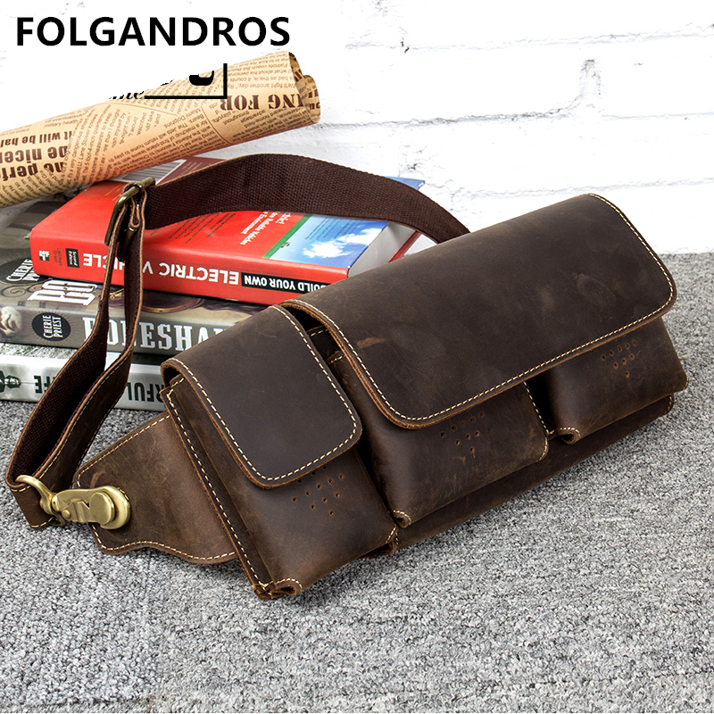 Brand Men Genuine Leather Waist Bag Vintage Cowhide Fanny Pack Male Hip Bum Bag Casual Phone Pouch Multifunctional Chest Bag Brand Men Genuine Leather Waist Bag Vintage Cowhide Fanny Pack Male Hip Bum Bag Casual Phone Pouch Multifunctional Chest Bag