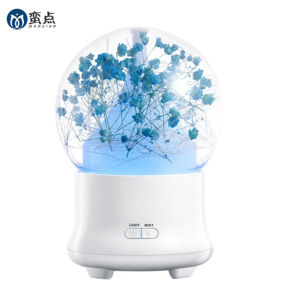 Aromatherapy 100ml Essential Oil Diffuser Cool Mist Whisper-Quiet Humidifier Eternal flowers type with 2 Mist mode 7 LED lightsAromatherapy 100ml Essential Oil Diffuser Cool Mist Whisper-Quiet Humidifier Eternal flowers type with 2 Mist mode 7 LED lights
