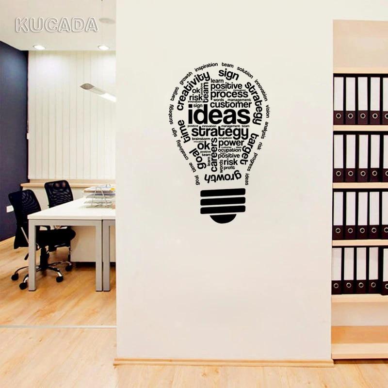 Vinyl Wall Stickers Lightbulb Ideas Office Meeting Room Space Interior Inspirational Words Home Decoration Art Murals Jg4145 Wall Stickers Aliexpress
