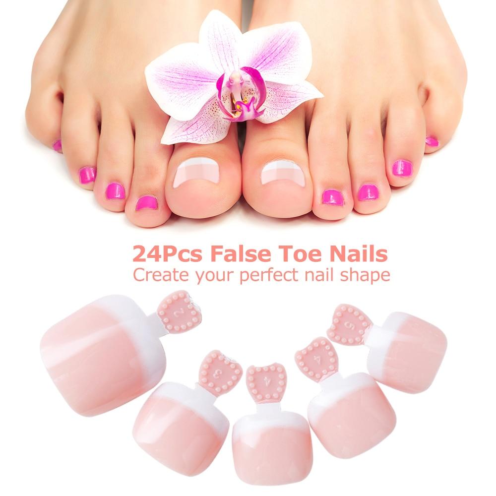 24 Pcs False Nail Toe Tips Artificial Candy Nails Sticker Natural Acrylic False Toe Nails Tips