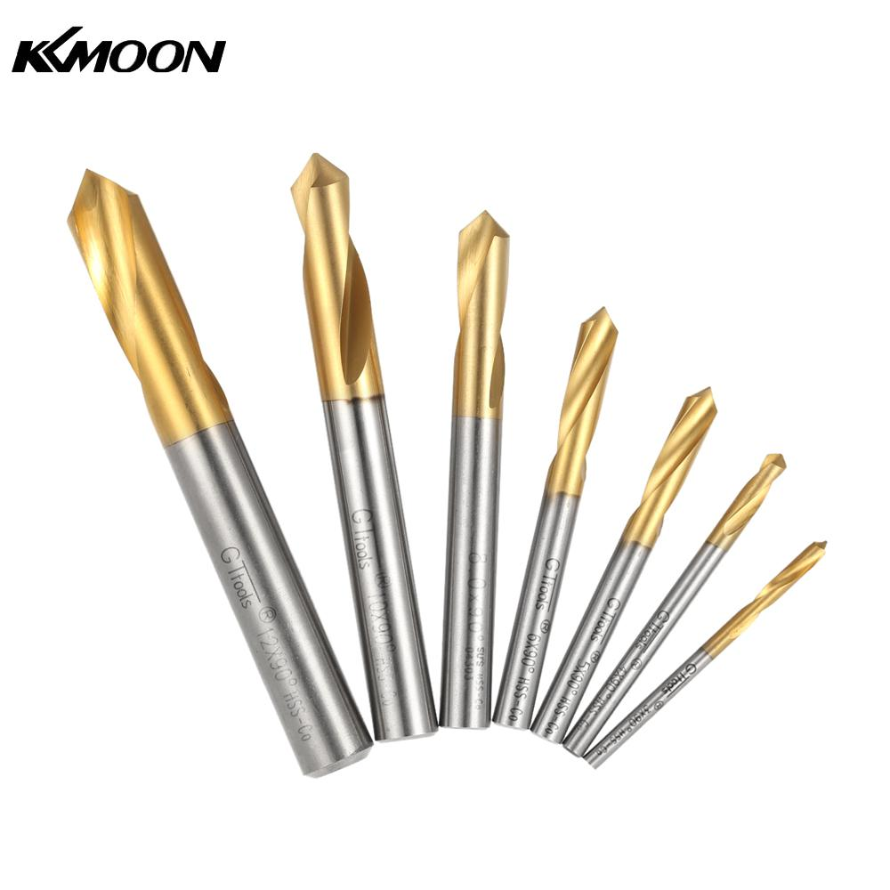 7pcs drill bit set M42 HSS High Speed Steel Titanium Plated Spotting Drill Bits Set Round Shank 90 Degree Drilling Tool free shipping of 1pc hss 6542 made cnc full grinded hss taper shank twist drill bit 11 175mm for steel