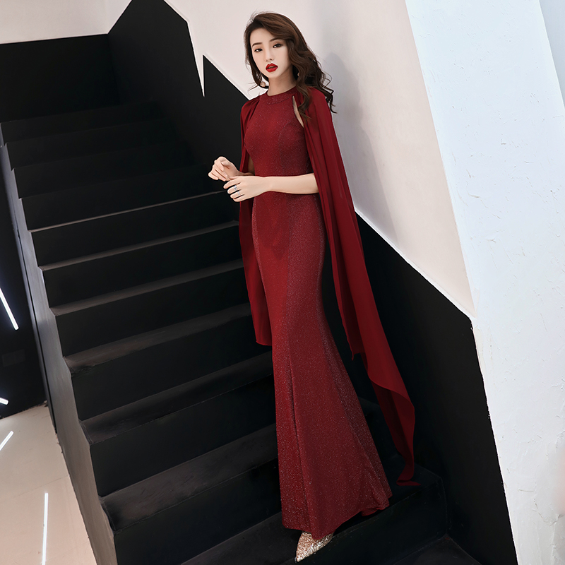 Sexy Black Mermaid   Evening     Dresses   2019 O-Neck Elastic Satin Women Formal Party Prom   Dresses   Long   Evening   Gowns aftenkjole