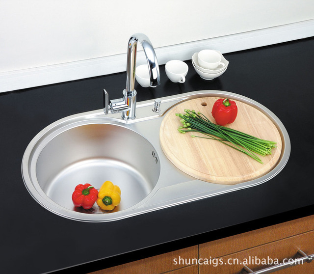 Wash Basins, Sinks, Vegetables Basin, Kitchen With Stainless Steel Double Round  Bowl Washbasin