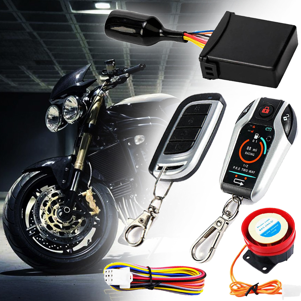 1SET 12V Two Way Motorcycle Security Alarm System Anti-theft Remote Control Unlock Engine Start Stop Waterproof For Yamaha