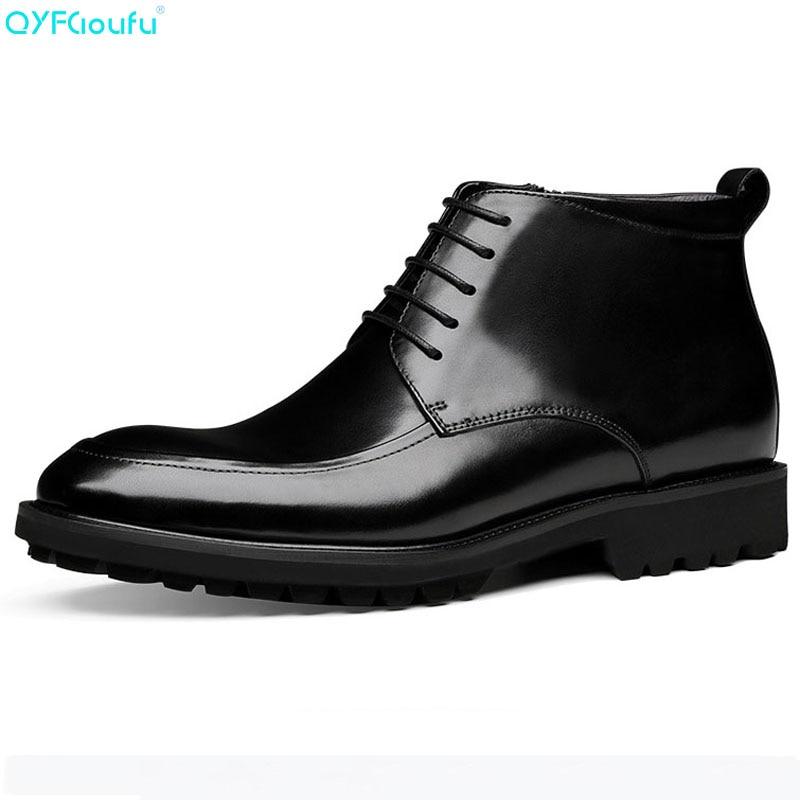 Encaje Botas Hombre marrón hombre Negro Nuevos De Zapatos Moda Chelsea Genuino Tobillo Diseñador Invierno Qyfcioufu Cuero 2019 Hombres x4EwqA1