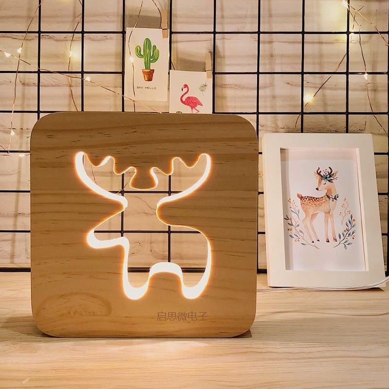 Creative LED Table Light Oak Wood Cartoon Table Lamp Luminaria Romantic Bedroom Decor Table Lamp Baby Kids Birthday Xmas Gift