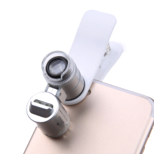 Universal 3 LED Clip Celular Microscopio Lupa Micro Lens 60X Zoom Telescope Mobile Phone Lens for iPhone Samsung Smart Phones
