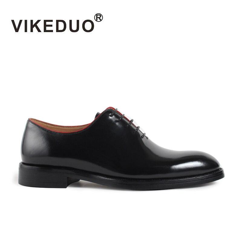 Vikeduo Classique Oxford Chaussures Pour Hommes Noir Marque À La Main Bout Rond Chaussures De Mariage Mâle Véritable En Cuir Formelle Robe Zapato Hombre