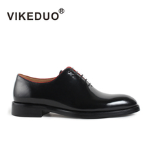 Vikeduo Oxford Shoes For Men Black Handmade Round Toe Wedding Male Genuine Patent Leather Formal Dress Zapato de Hombre