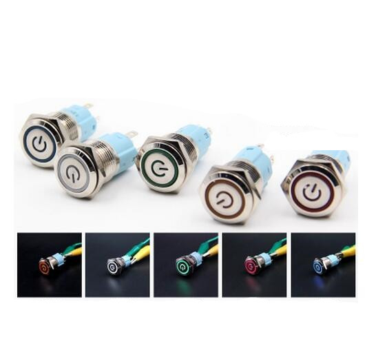 16 mm self-locking metal button with light switch voltage 6 v current  waterproof rust tn2ss rotary button switch gear selection type 2 22mm with self locking