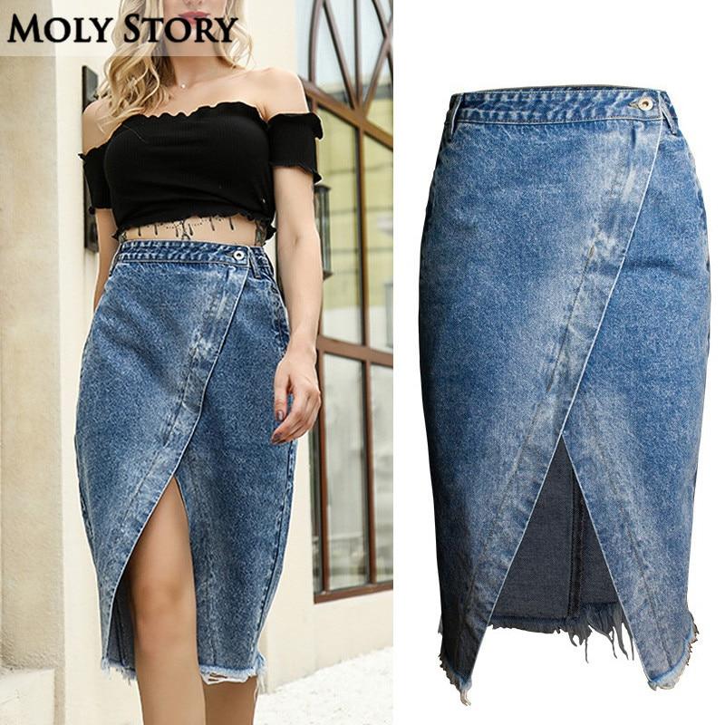 Fashion New Asymmetrical Denim Skirts Women High Waisted Jean Wrap Skirts Jupes Femme Irregular Ladies Fringe Skirt