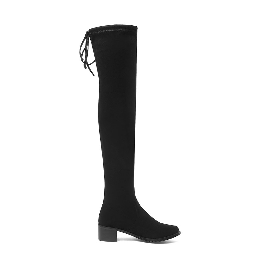 Image 4 - QUTAA 2020 Women Winter Boots Fashion All Match Elastic Fabric Over The Knee High Shoes Square Mid Heel Women Boots Size 34 43-in Over-the-Knee Boots from Shoes