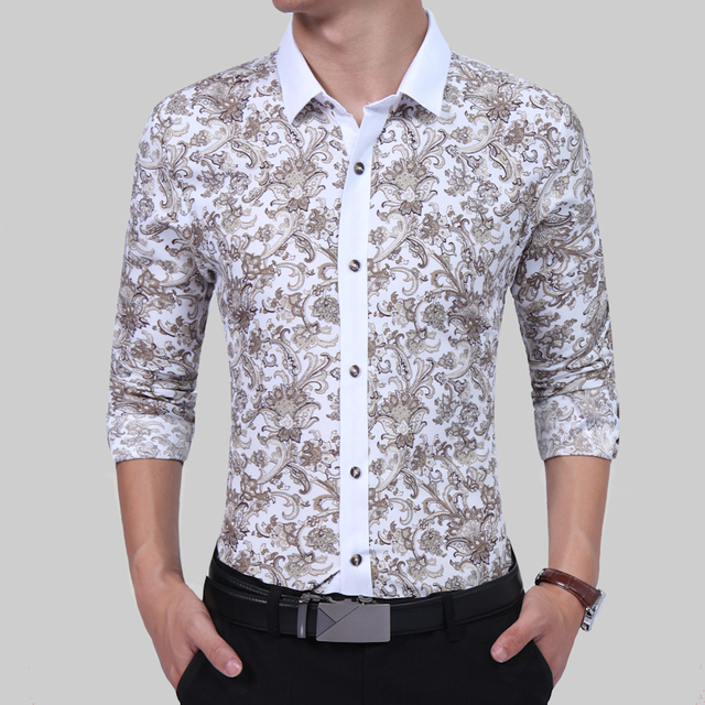 72fd2219fff9 2017 Latest Design Retro Floral Printed Men Casual Shirts Classic Men Dress  Shirt Men's Long Sleeve