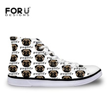 FORUDESIGNS Children's Sneakers Flats Shoes for Boys Kawaii Pug Dog Printing Kids Football Shoes High Top Canvas Shoes 2018