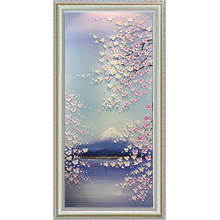 Youran Diamond Painting Full Square Round Drill Romantic Mount Fuji Cherry Blossom Landscape Rhinestone Embroidery Kit Home Deco