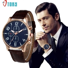 Men Watch OTOKY Willby Mens Faux Leather Quartz Wrist Watch Male Gift 170120 Drop Shipping