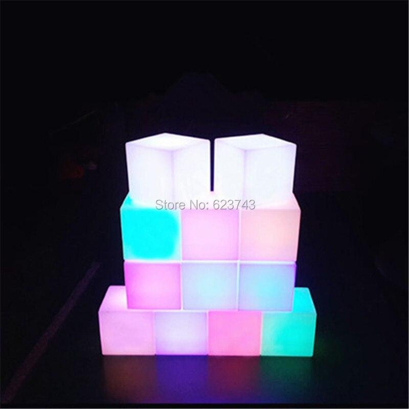 4 pcs/lot 25 CM magique CUBE étanche rechargeable LED veilleuse lumineuse cube lampe de table pour fête de mariage extérieur intérieur décor