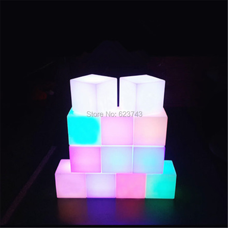 4pcs/lot 25CM Magic CUBE waterproof rechargeable LED night light luminous cube table lamp for wedding party outdoor indoor decor alluminum alloy magic folding table bronze color magic tricks illusions stage mentalism necessity for magician accessories