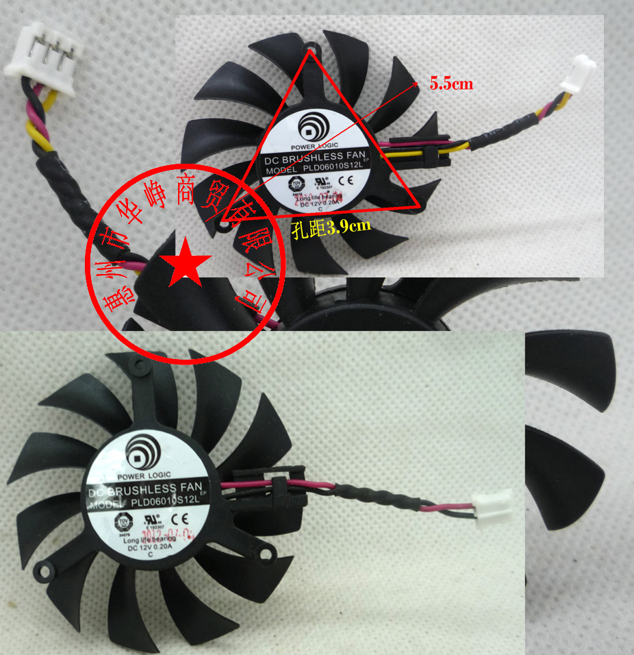 New Original MSI N440GT Blizzard V5 Graphics Card Cooler Cooling Fan PLD06010S12L 55mm 12V 0.20A 3Wire 75mm pld08010s12hh graphics video card cooling fan 12v 0 35a twin for frozr ii 2 msi r6790 n560gtx r6850 n460gtx dual cooler fan