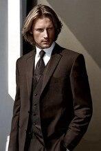 2016 new design balck gray two buttonGroom Tuxedos Best man Suit Wedding Groomsman/Men Suits Bridegroom(Jacket+Pants+Tie+Vest)