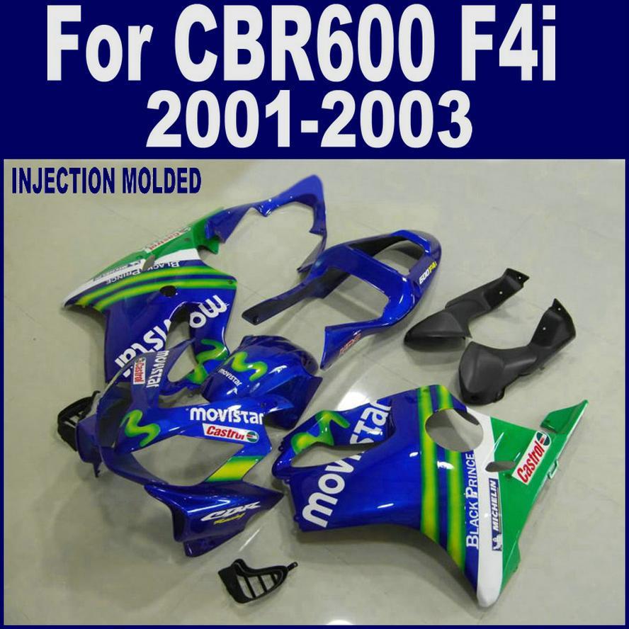 Injection molding for HONDA CBR 600 F4i blue   01 02 03 CBR600 F4i 2001 2002 2003 custom fairing LHFD 100% injection molding repsol for honda fairing parts cbr 600 f4i 01 02 03 cbr600 f4i 2001 2002 2003 body repair parts shjg
