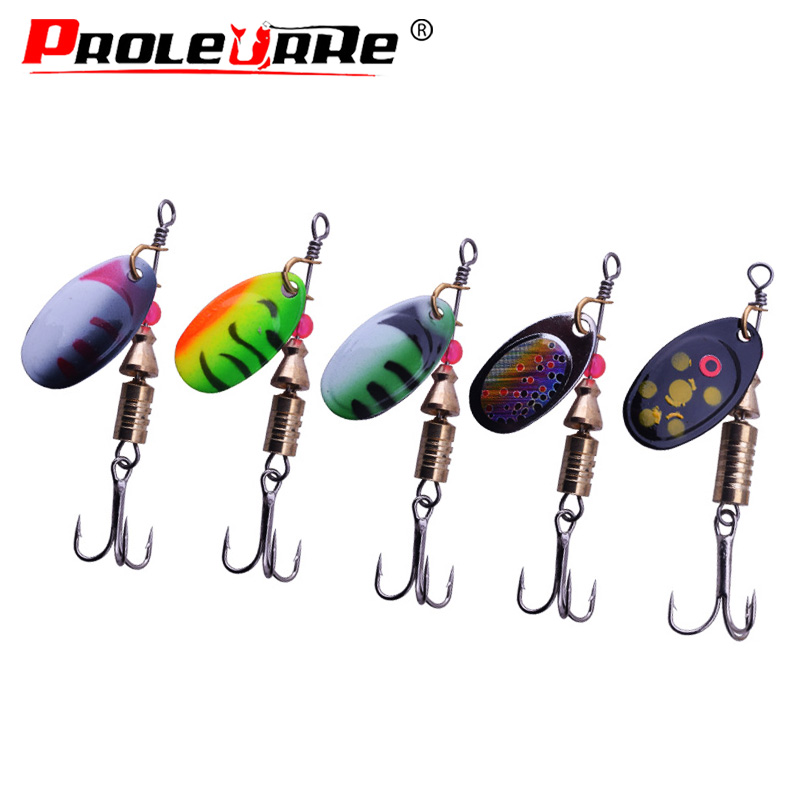 1Pcs Rotating Spinner Spoon Fishing Lure 2.5g/3.5g/5.5g Metal Sequins Bait Treble Hooks Wobbler Crankbait Fishing Tackle PR-068