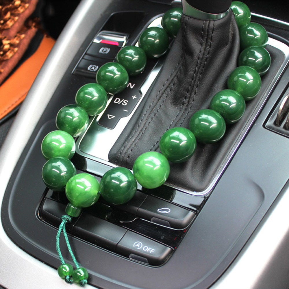 Car Ornament Beeswax Buddha Beads Stalls Pendant Auto Interior Rearview Mirror Car Gear Decoration Bracelet Accessory Trim Gifts