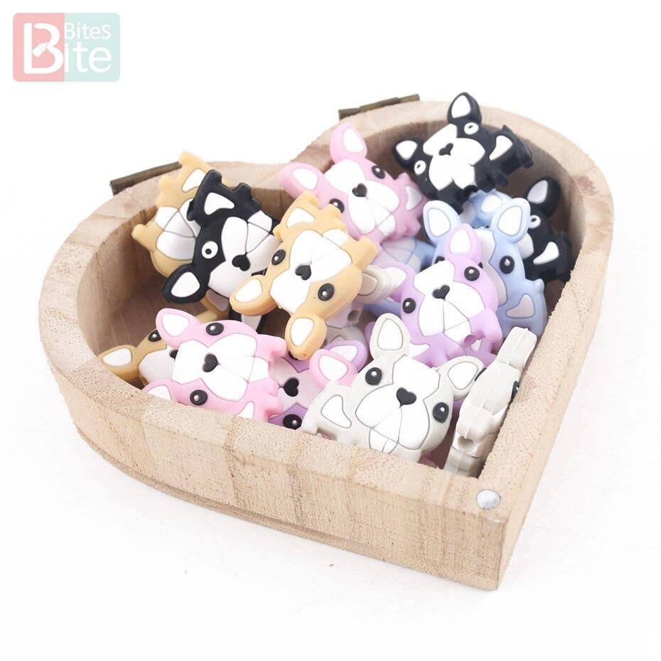 Bite Bites 3PC Silicone Beads Baby Teething Mini French Bulldog Food Grade Nursing Chewing DIY Baby Shower Gift Baby Teether цена