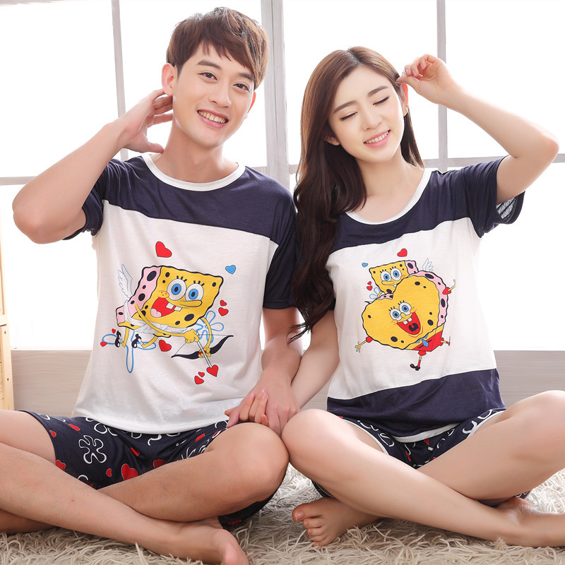 Pajamas Sets Women Cartoon Soft Cotton Cotton Man Couple Short Sleepwear Suit 2 Piece Spring Autumn Home Lounge Clothes