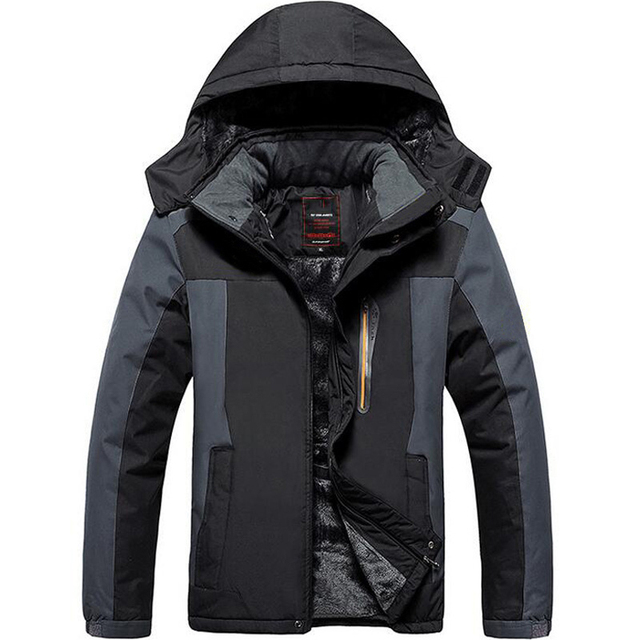 2017 Men Winter Inner Fleece thermal Waterproof Jacket Outdoor ...