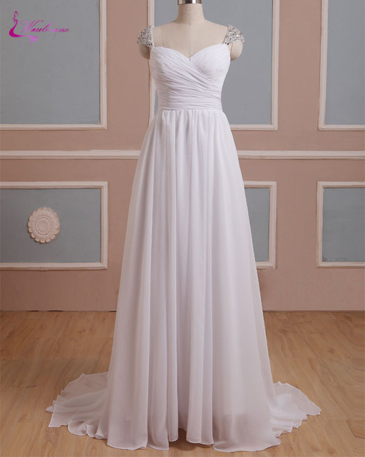 7e9a61efb5 Waulizane Simple Chiffon Sweetheart A-Line Wedding Dresses Beading Crystals Cap  Sleeves Ruched Pleats Bridal Dresses Custom Made