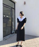 GRUIICEEN korean ruffle long summer dress 2019 fashion office vintage black dress short puff sleeve vestidos GY201910