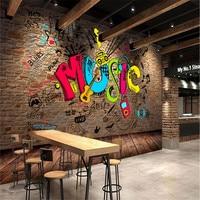 Beibehang carta da parati soggiorno rivestimento murale Mattone motivo alfabeto Musica Restaurant Cafe Bar KTV murales carta da parati home decor