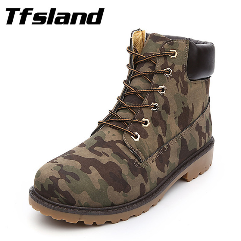 Men Women Winter Suede Leather Camouflage Martin font b Boots b font Autumn Tooling Snow font