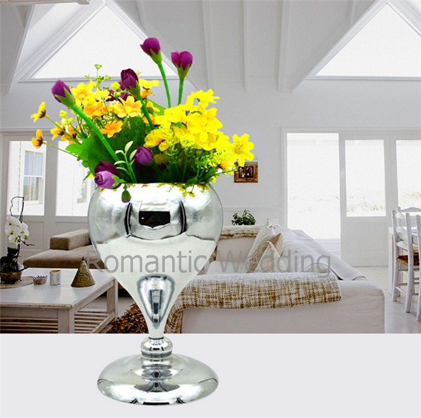 Free Shipment 10pcslots Flower Silver Vases Centerpieces For