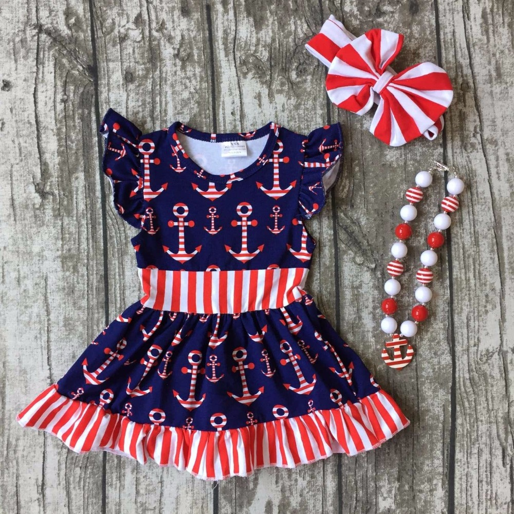 fd4362e5216 new arrival July 4th baby girls clothes summer anchor print navy red  striped dress sleeve cotton mtaching accessories boutique-in Dresses from  Mother   Kids ...