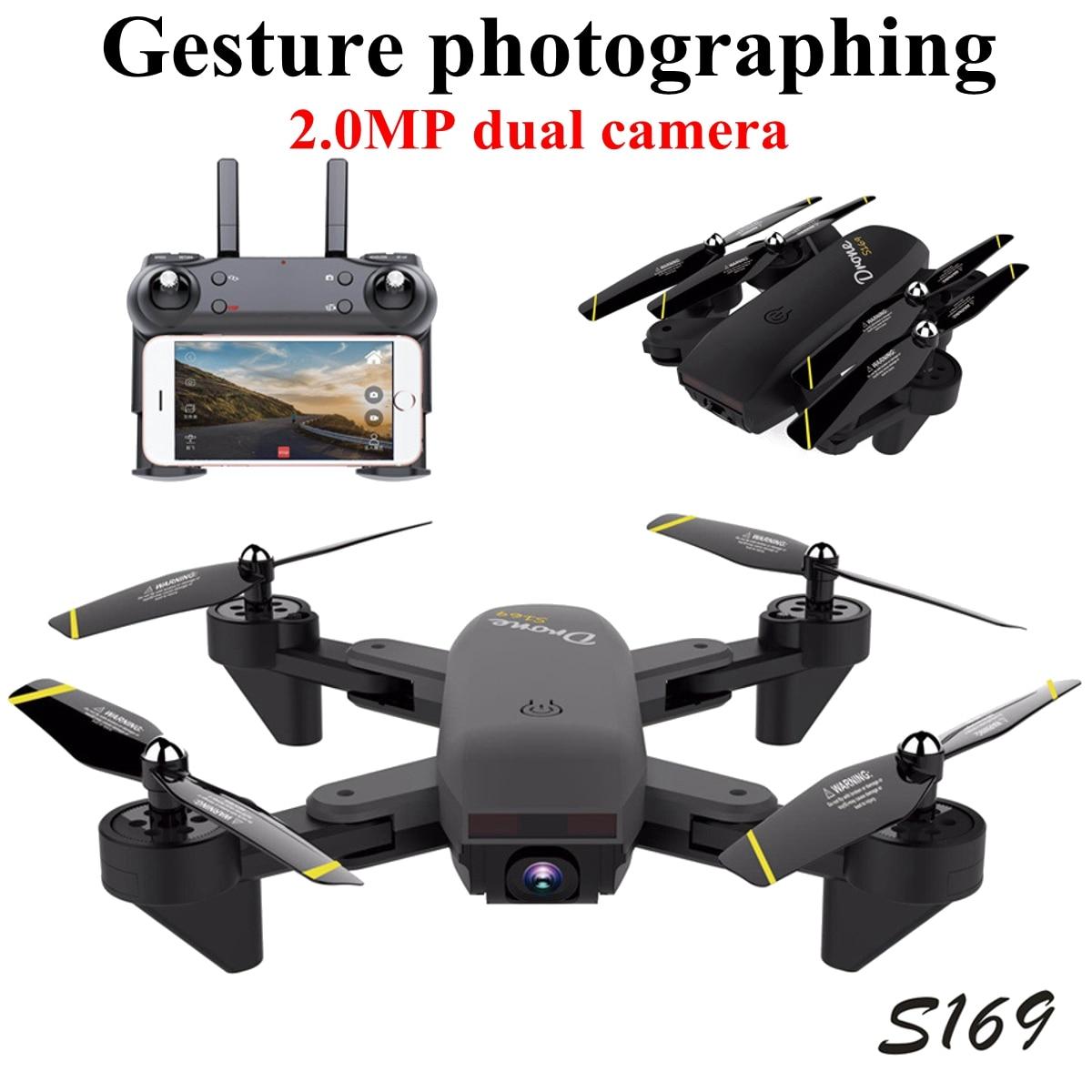 купить Folding drone Wifi FPV 2MP 120 Degree Wide Angle Dual Camera Drone Remote Control RC Quadcopter по цене 3408.9 рублей