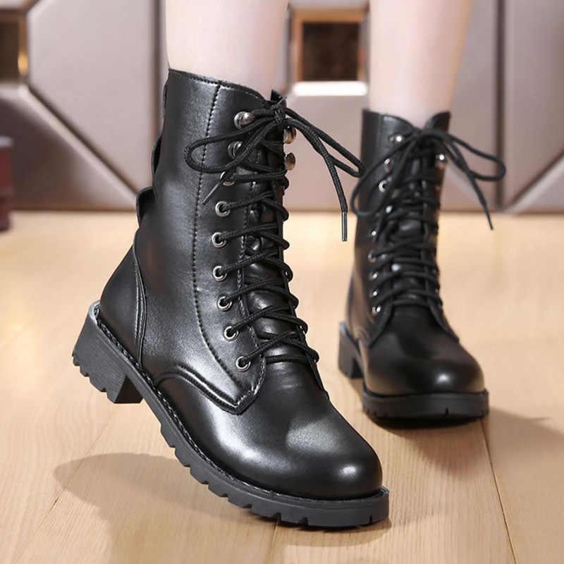 2019 Mới Khóa Mùa Đông Xe Máy Nữ Phong Cách Anh Quốc Cổ Chân Giày Gothic Punk Thấp Gót Ống Boot Nữ Giày Plus kích Thước 43