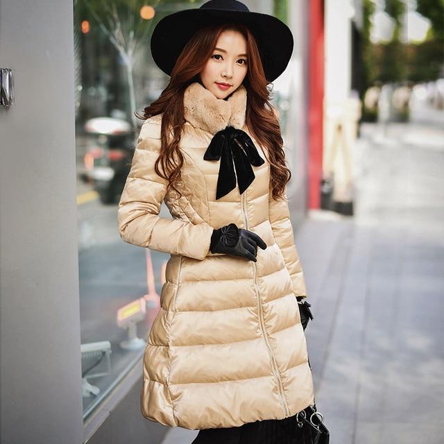 Dabuwawa Winter Down Coats Women White Duck Down Jackets Bow Tie Fur  Collar Warm solid long Coats Elegant Outerwear
