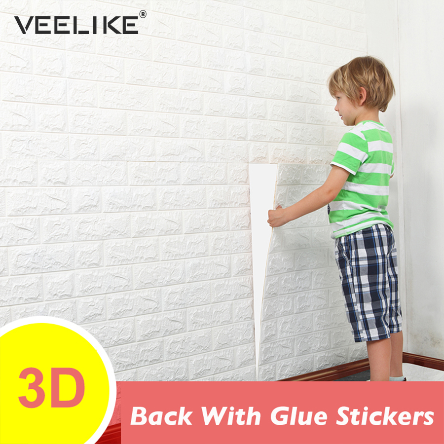 PE Foam 3D Wall Panel Sticker Safety Home Decor DIY Self Adhesive Wallpaper Living Room Kids Bedroom Decor 3D Brick Wallpaper
