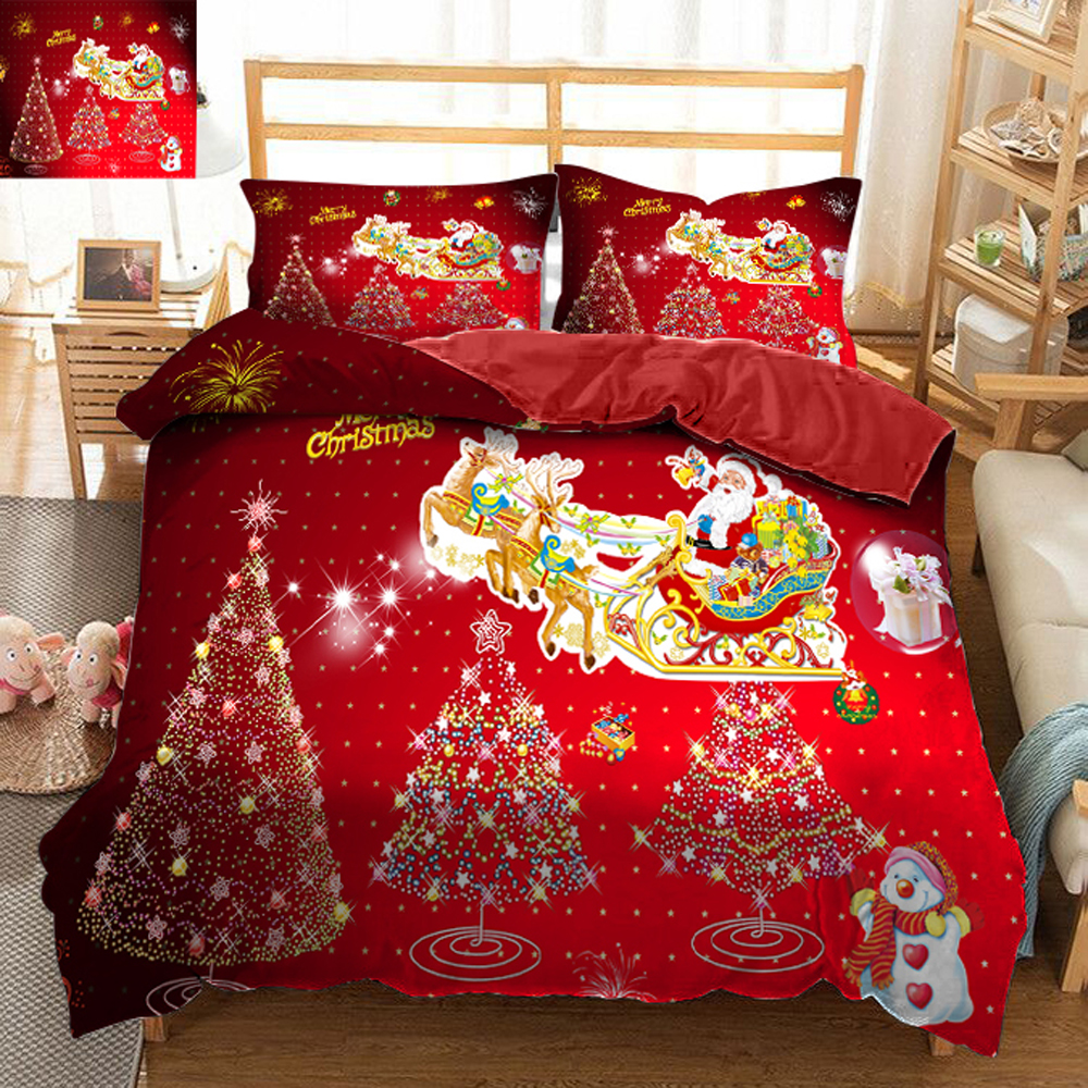Christmas wedding bedding set decorate 3D bedsheet Duvet Pillowcase bed cover Twin king size Queen Bed