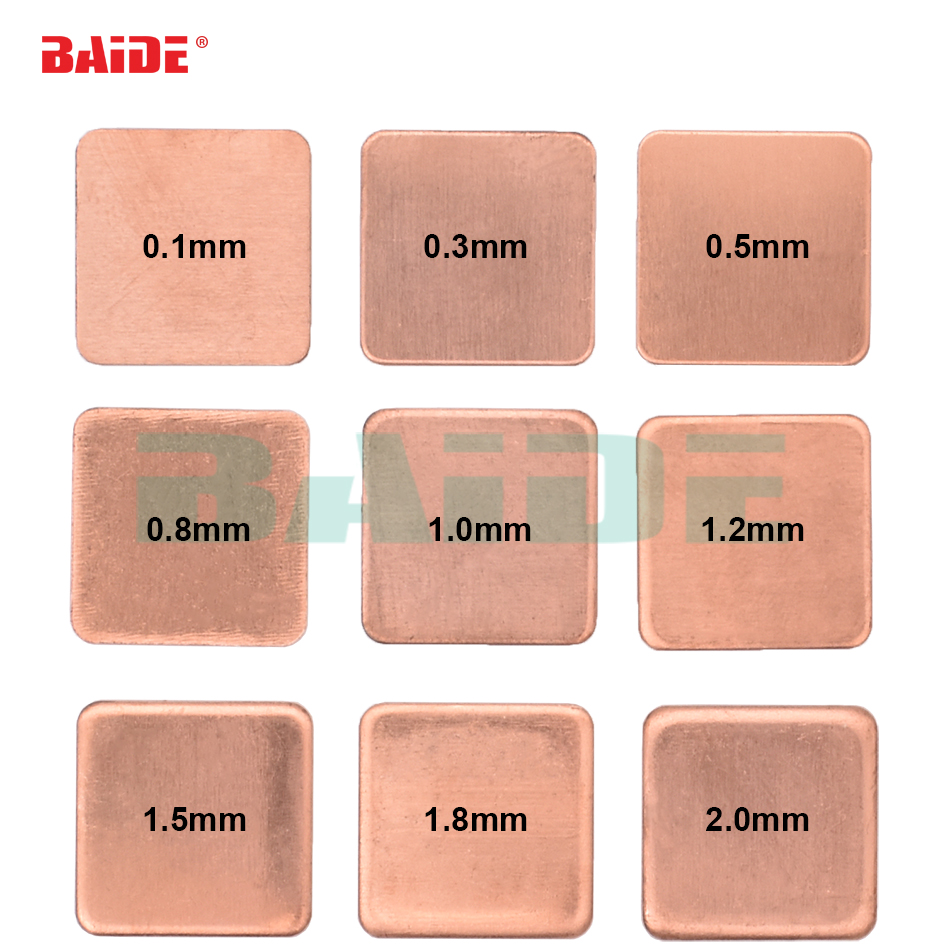 Copper Sheet Shim Piece Heat Sink 15 x 15mm 20 20mm 0 1 0 3 0