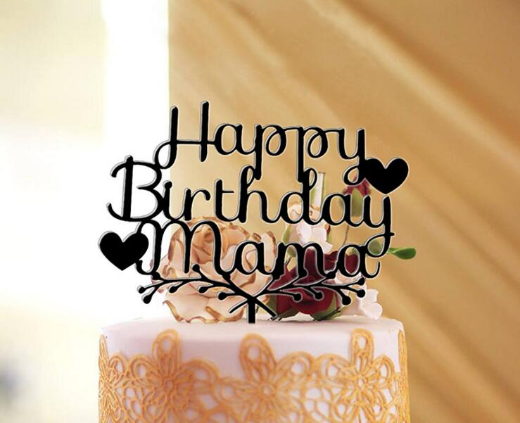 Glitter gold silver happy birthday mama cake topper for B day decoration