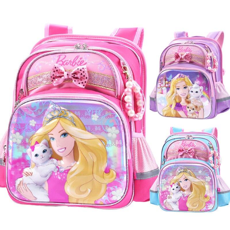 adf6b50fcc43 Barbie малыши детей начальной женской ортопедические мультфильм школа сумка  рюкзак bookds сумка портфель для девочек для класса