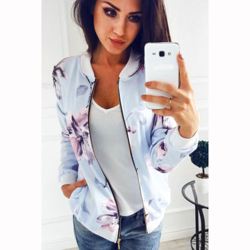 2017 Fashion Floral Print Women   Basic   Coats Autumn Winter Bomber   Jacket   Long Sleeve Casual   Basic     Jackets   Streetwear WS2030T